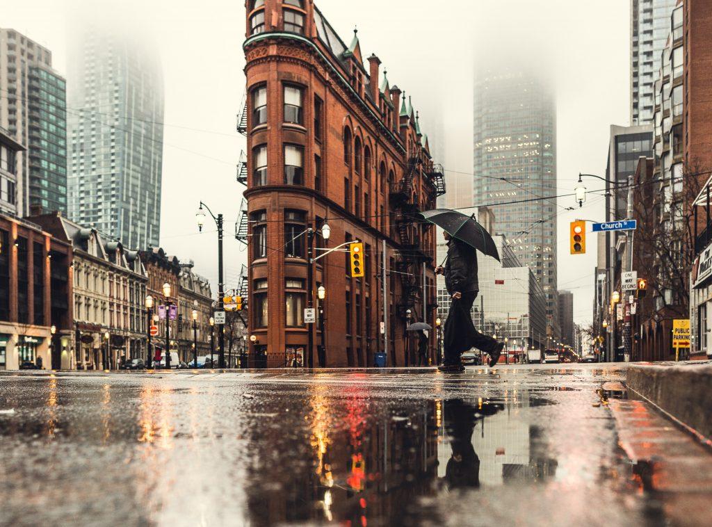 Rain in Toronto streets