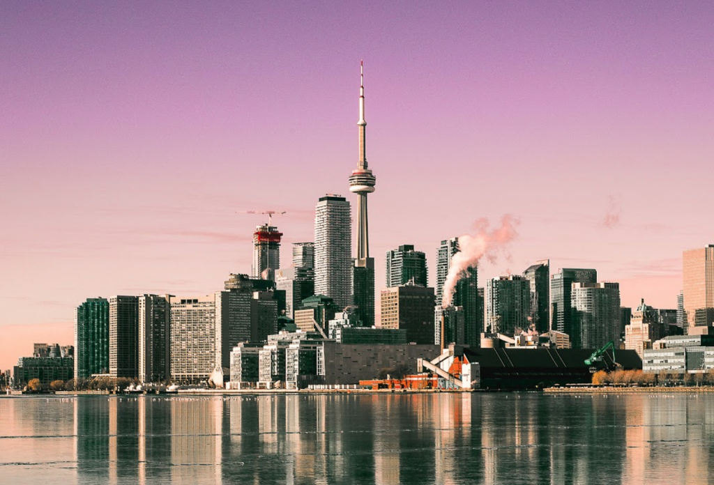 Toronto Skyline with purple sunset