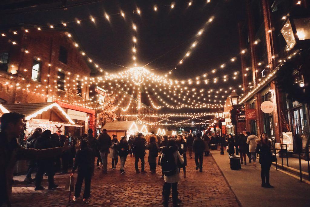 Toronto Christmas Market lights at night