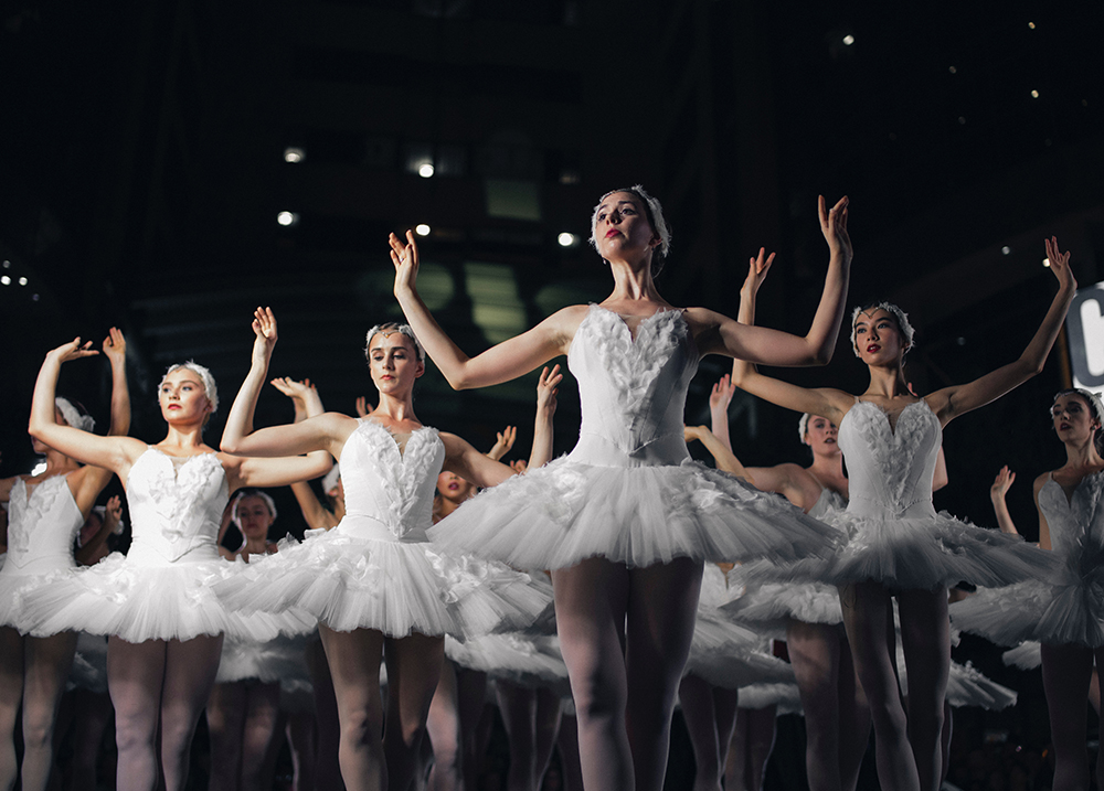 Group of ballerinas in white costumes